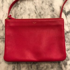 Céline trio cross body in poppy red lambskin